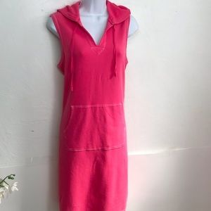 Land'sEnd hooded pocket front sleeveless pink 50%